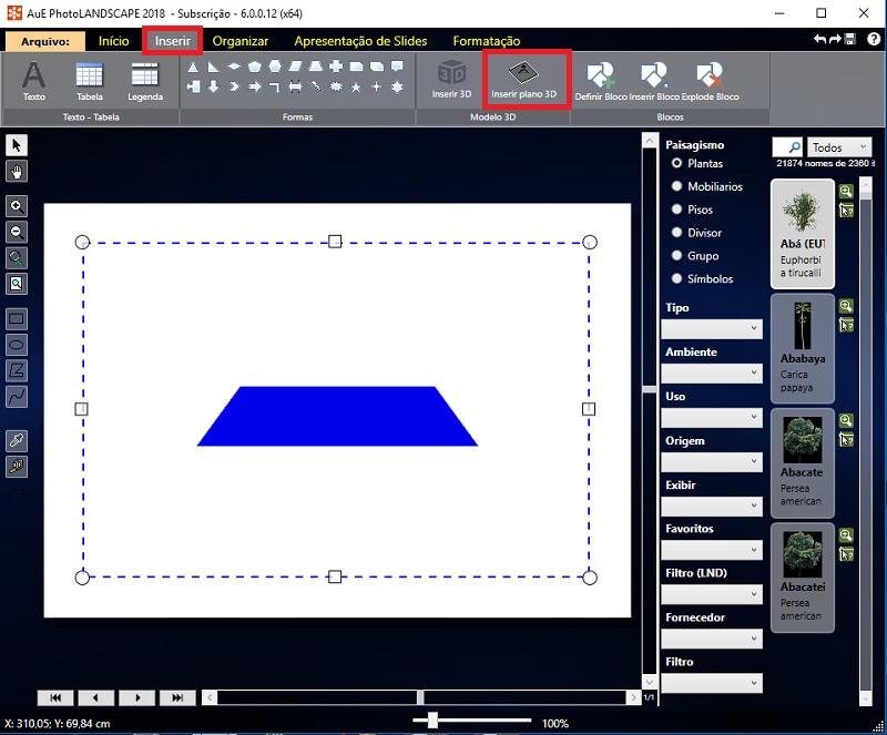 Veja como inserir o plano 3D