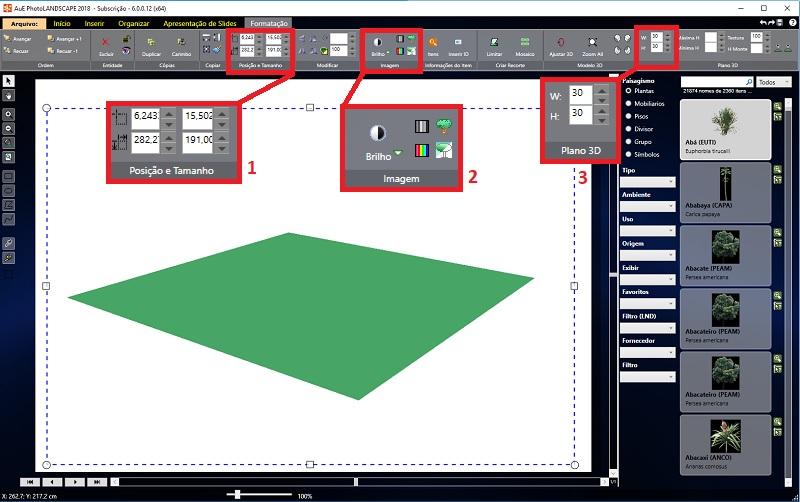 Opções de modificar Plano 3D