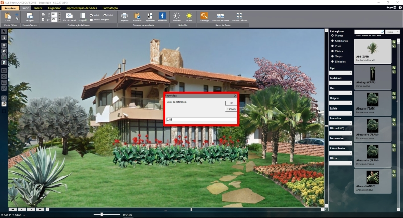 Determinando as medidas de um ponto de referência na imagem