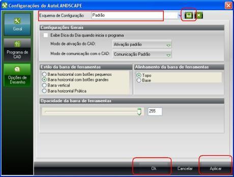 Tela de Configuração do AutoLANDSCAPE