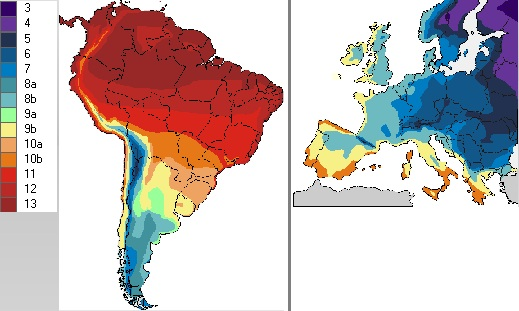 Zonas de rusticidade, comparando América do Sul com Europa
